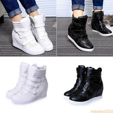 2017 FASHION Women's Ankle Boots High Top Wedge Hidden Heels Sneakers Shoes Size