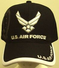 EMBROIDERED US AIR FORCE USAF WINGS INSIGNIA LOGO EMBLEM CAP HAT BLACK BLUE CAMO