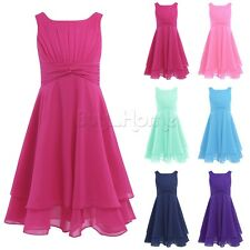 Flower Girls Princess Dress Kids Party Wedding Pageant Chiffon Dresses Clothes