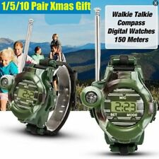 """5/10 Pair 7 in 1 0.8"""" LCD Radio 50~150M Watches Walkie Talkie Lights Mic Lot ~O"""