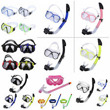 Tempered Glass Diving Face Mask With Full Dry Snorkel Tube Scuba Snorkeling MF