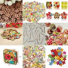 100x Star Heart Flower 2 Holes Wood Sewing Craft Scrapbooking DIY Buttons Sale