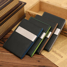 Mens Money Clip Wallets, Leather Silver Bifold Slim ID Credit Card Holder Wallet