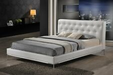WHITE FAUX LEATHER QUEEN OR KING MODERN PLATFORM BED WITH TUFTED HEADBOARD