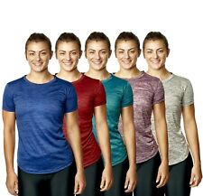 Womens Sports T Shirt Ladies Light Curved Fitness Top Gym Running Yoga Tee 8-20