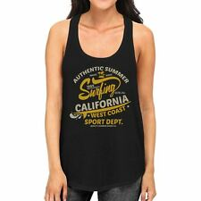 Authentic Summer Surfing California Womens Black Tank Top