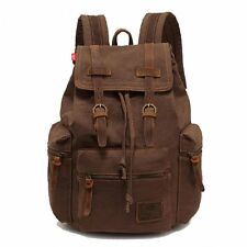 UK Mens Vintage Canvas Backpack Satchel Rucksack School Bag Travel Camping Bag