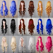 Natural Long Hair Piece Wavy Curly Colorful Hair Party Halloween Cosplay Wig SY