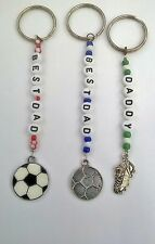 Football/ football Boot Personalised keyring Choice of 3 charms. Birthday Gift