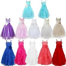 Girl Bridesmaid Dress Kids Princess Wedding Pageant Party Flower Formal Prom Bow