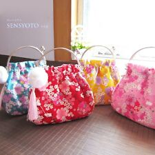 Japanese Women Kimono Yukata Floral Sakura Handbag Mini Bag Small Purse Tassels