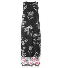 Evans Plus Size Black & White Floral Sleeveless Maxi Dress with Stretch