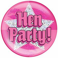 "Pink Holographic Dot Hen 6"" Giant Badge Fancy Party Jumbo Badges Dress Accessory"