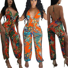 Women Deep V Halter Strappy Floral Jumpsuits Siamese Trousers Straight Leg Pants