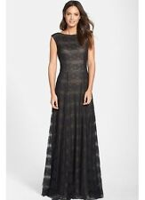 New Vera Wang Sleeveless Black Lace Overlay Formal Long Gown Dress Sizes 2 or 8
