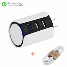 QC3.0 Quick 3-Ports USB Car Charger Power Adapter For Smartphones + USB Cable