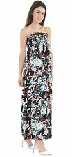 Womens Floral Print Sheering Gather Boobtube Bandeau Strapless Maxi Dress 8-22
