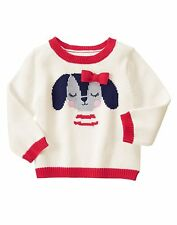 GYMBOREE Fun At Heart Baby Girls Puppy Sweater Pullover Ivory Red 12-18 18-24 Mo