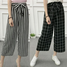 HOT Fashion Women Ladies Casual High Elastic Waist Pants Wide Leg Loose Trousers