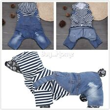 Casual Pets Dog Jeans Stripe Clothes Warm Hoodie Coat Jacket Clothing Jumpsuits