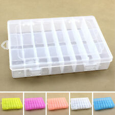 Plastic 24 Slot Adjustable Jewelry Storage Box Case Craft Organizer Beads 5Color