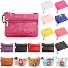 Womens Zip Change Coin Purse Cute Mini Wallet Key Coin Card Holder Leather Pouch