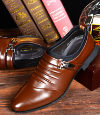 Mens Casual Oxfords Shoes Pointed Leather Lace Up Wedding Dress Formal Shoes