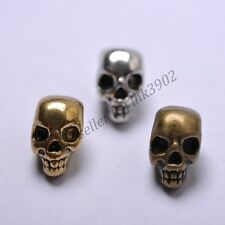 10Pcs Tibetan Silver Skull Head Loose Spacer Beads Jewelry DIY Findings Z810