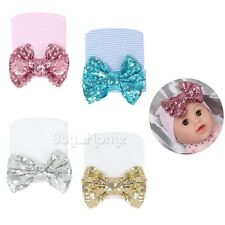 Baby Newborn Girl Infant Toddler Sequins Bowknot Beanie Big Bow Hat Hospital Cap