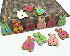 Animal Wooden Buttons Mixed Rabbit shape Fit decoration sewing Scrapbooking 30mm