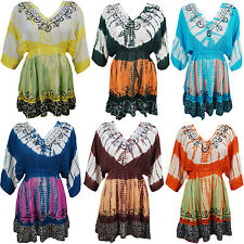 BOHEMIAN WOMENS CASUAL TIE DYE DRESS EMBROIDERED COVER UP BEACHWEAR SUNDRESS