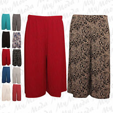 Ladies Womens Elasticated Stretch Print Wide Leg Culottes Shorts Plus Size 16-30