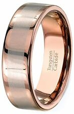 Mens Wedding Band 8mm Rose Gold Tungsten Ring Laser Inlay Flat Edge Comfort Fit