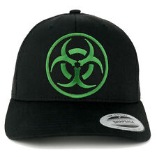 BIOHAZARD Circular Black Green Embroidered Patch Mesh Back Trucker Cap