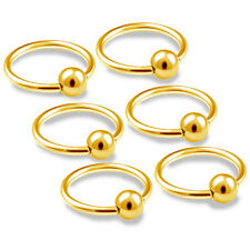 6pcs 16g Captive Bead Ring Cartilage Hoop Eyebrow Septum Rook Anodized BCR 214