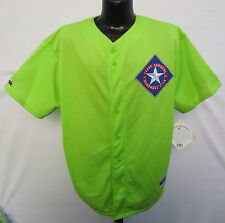 TEXAS RANGERS LIME NEON GREEN STITCHED JERSEY MAJESTIC MLB BASEBALL VINTAGE VTG