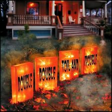 Spooky set of (4) Lighted WITCHY LUMINARIES Pre Lit Halloween Yard Stakes NEW