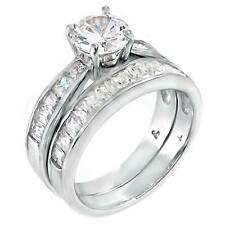 Sterling Silver 4.21 carat Ice on Fire CZ 2 Piece Wedding Ring Set, Elanna