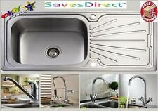 New 1.0 Large Bowl Reversible Stainless Steel Kitchen Sink & Huge Choice of Taps
