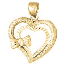 14K Gold Heart With Bow Pendant (Yellow, White or Rose) - AZ3835-14K