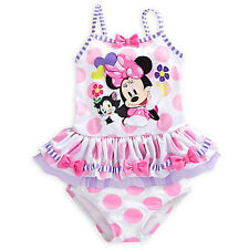 NWT Disney Store Minnie Mouse Swimsuit 2pc UPF 50+ Girls 4,5/6,7/8