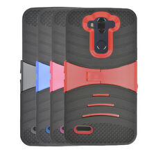 For Walmart Family Mobile ZTE Max Blue 4G LTE Hard Armor Cover Case Kickstand
