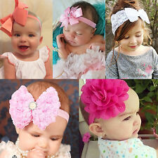 Toddler Baby Girls Flower Bowknot Headband Elastic Hairband Headwear Accessories