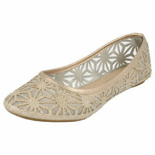Ladies Spot On Mesh Nude Glitter Dolly Shoes - F80013