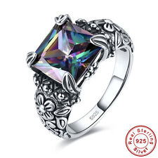 Solitare Women Fashion Rainbow Topaz 100% 925 Sterling Silver Ring Size 6 7 8 9