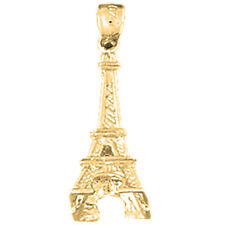 18K Gold 3D Eiffel Tower Pendant (Yellow or White Gold) - AZ4914-18K