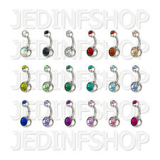 Navel Belly Bar - 1.6mm (14g) - 6mm - Double Gem - Stainless Steel