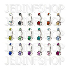 Navel Belly Bar - 1.6mm (14g) - 8mm - Double Gem - Stainless Steel