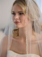 Wedding Bridal Veil Pearls Beads Sequins Elbow Or Fingertip Length 1 Layer