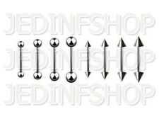 Straight Barbell Tongue Nipple Bar - 1.6mm (14g) - 16mm - Stainless Steel